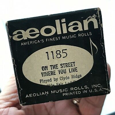 "Aeolian Player Piano Roll ""On the Street Where You Live"" No.1185 Good Condition!"