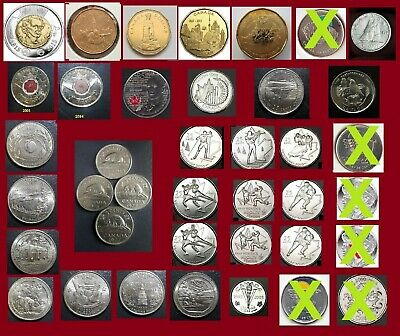 Lot of 35 Coins - You may pick and Choose - Canada Loonie or  Quarter only 25 c