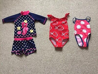 3 X Girls Swimwear Outfits Marks And Spencer Mini Club Age 3-6 Months