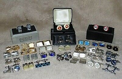 Collection of 30 Sets of Cufflinks Multi coloured-Multi designs - Novelty-Joblot