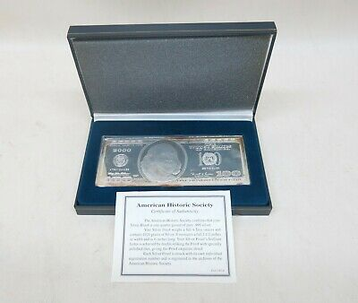 2000 4 Troy oz .999 Fine Silver Bar Ben Franklin $100 One Hundred Dollars w COA