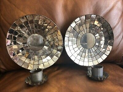 Pair Of Antique Tin Mirrored Candle Wall Sconces