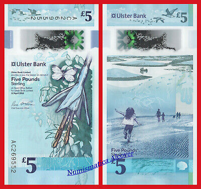NORTHERN IRELAND ULSTER BANK 5 Pounds 2018 (2019) Pick New  SC / UNC