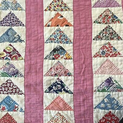 Vintage Flying Geese Pretty Pink And Multi Color