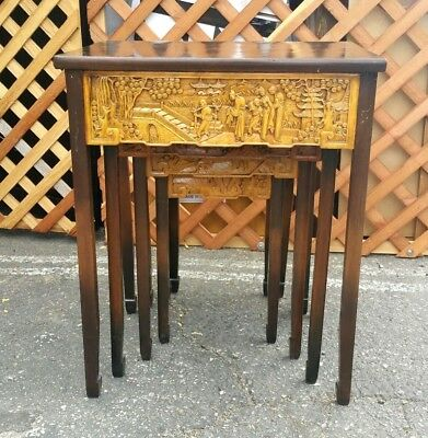 Antique Chinese Hand Carved Wood Nesting Tables 19th Century