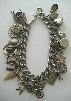 0952b5c10a10 VINTAGE Sterling Silver CLASSIC 1940 s-50 s CHARM Bracelet LOADED w  21  Charms