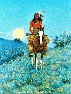 "Native American on Horse 8.5x11"" Photo Print Frederic Remington Old West Artwork"
