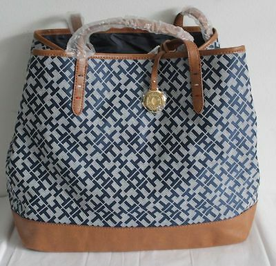 $89.00 NWT TOMMY HILFIGER LARGE TOTE NAVY BLUE MSRP