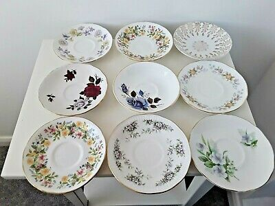9 X Vintage China Saucers Mismatched Mix & Match Colclough Duchess Job Lot