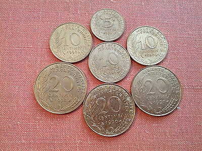 7 French Coins: 5, 10 & 20 Centimes Pre-Europe
