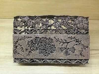 Vintage copper textile hand printing block, bird and floral design