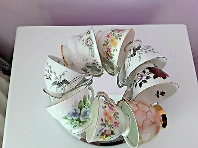 8 X Vintage China Tea Cups Mismatched Mix & Match Duchess Royal Standard Lob Lot