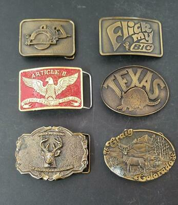 Lot of 6 Mostly Brass Belt Buckles Various Themes Western Hunting Bic Deer