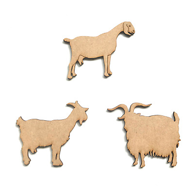 Wooden MDF Goat Farm Animal Shape 3mm Thick Tags Embellishments Decoration Craft