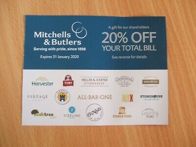 20% off total bill voucher at Mitchells & Butlers, Miller & Carter,Vintage Inns