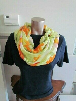 Silk Chiffon Scarf Green Orange Pink Floral Abstract Vintage Retro Church Veil