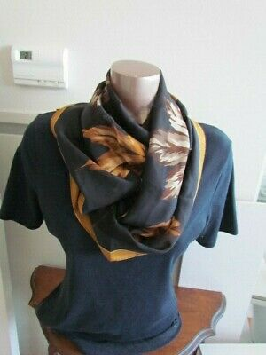 Bill Blass Silk Scarf Oblong Black Brown Beige Mustard Maple Leaves