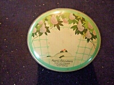 APRIL SHOWERS DUSTING POWDER lith tin container, Ceramy, Paris, NY oval talc 30s