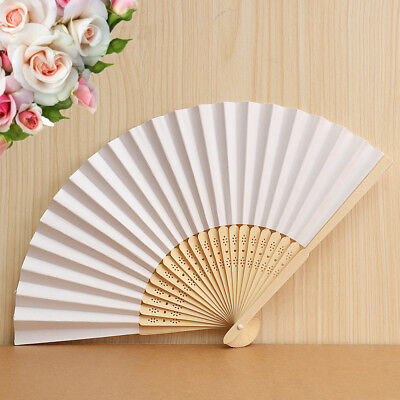 30PCS Chinese Style Hand Fan Bamboo Paper Folding Retro Party Wedding Decor Gift