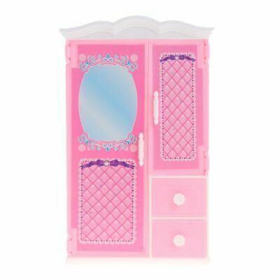 Closet Toys With Mirror Doll House Princess Bedroom Furniture Wardrobe