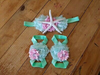 Mint and Pink Mermaid Baby Barefoot Sandals Headband Set -