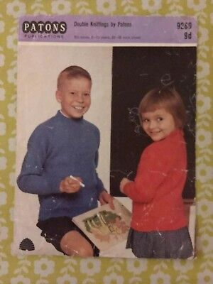 Vintage 1960s Patons double kintting pattern for children's crew neck jumper 926