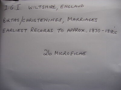 26 Microfiche For Wiltshire England - Igi Birth/Christenings & Marriages