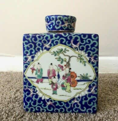 Antique Chinese Blue Porcelain Enameled Tea Caddy