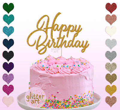 Happy Birthday Cake Topper Glitter Decoration Sign Bling Sparkle Calligraphy UK