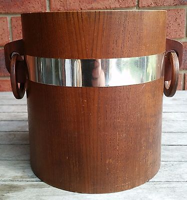 Vintage Retro Wooden Wood Champagne Wine Ice Bucket Teak Veneer Ring Handles