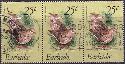 1979 Barbados 25c Scaly breasted ground dove USED Strip of three as scan F136