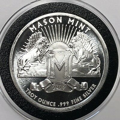 Mason Mint Lions 1 Troy Oz .999 Fine Silver Round Collectible Round Coin Medal