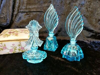 Vintage Czech New Old Stock ART DECO set of 3 Aqua colour  glass perfume bottles