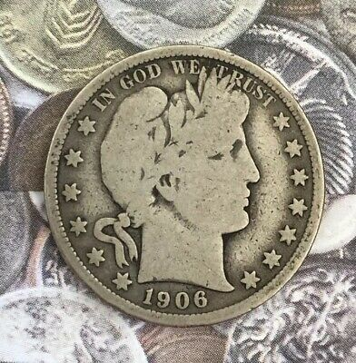 ON SALE!! 1906-P Silver Barber Half Dollar VERY GOOD Condition Beautiful