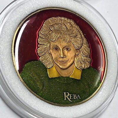1988 Reba McEntire Colorized Enamel Medal Round Collectible Commemorative Coin