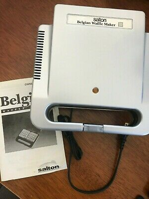 "Belgian Waffle Maker Electric Salton WM4PLT Non-Stick Makes Two 4"" x 4"" Waffles"