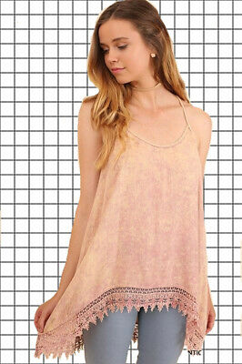SMALL UMGEE ANTIQUE ROSE Mineral Washed Crochet Trim Tank/Cami/Top BHCS