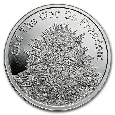 1 oz silver cannabis.end the war on freedom! BU .999 pure silver shield weed pot