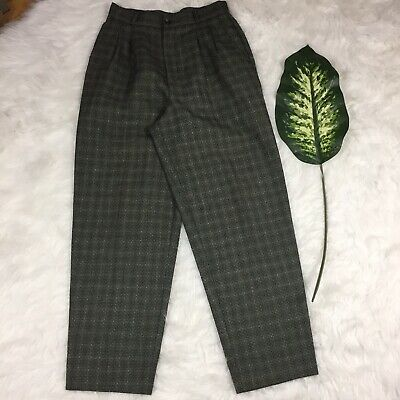 Stephanie Andrews Womens Grey Brown Plaid Trousers Dress Pants Sz 10 Made In USA