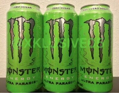 NEW! Monster Energy Drink ULTRA PARADISE 3 Full Cans SILVER TOPS