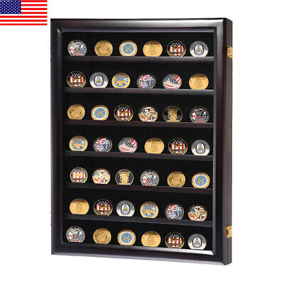 NEW LOCKABLE Challenge Coin Poker Chip Display Case Wall Shadow Box Cabinet US