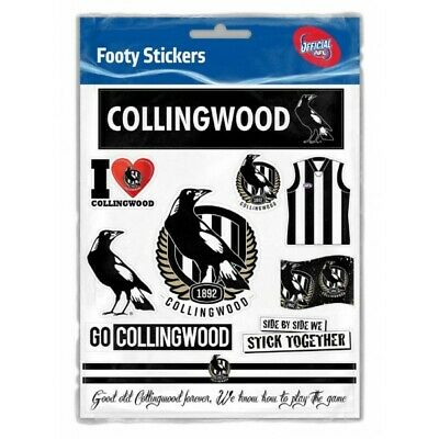 Collingwood Magpies Official AFL Logo Sticker Sheet Free Postage
