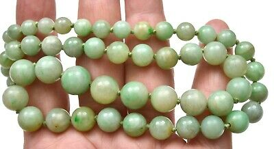 1930's Chinese Jade Jadeite Carved Carving Bead Necklace 14K Gold Clip Marked