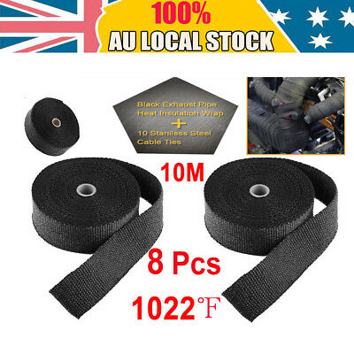 Exhaust Heat Wrap Black 80M X 50Mm + 80 Stainless Ties Manifold Insulation Au