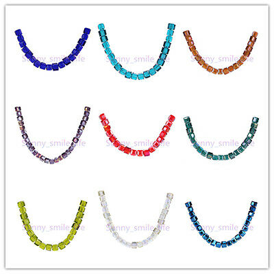 6mm Square Loose Crystal Cube Spacer Glass Beads DIY Jewelry Bracelet 51Colors