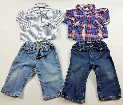 Baby Boy Carters Plaid Button Up Dress Shirt Pants Sleeve 9 month Old Navy Denim