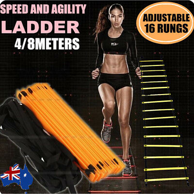 4/8M 16Rung Speed Agility Training Ladder Footwork Football Soccer Fitness W/Bag