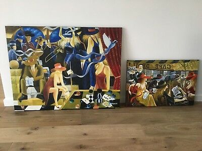 Two contemporary American oil paintings on canvas