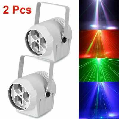 2 x Sound Active LED RGBW Projector Effect Stage Lights DMX Laser Party DJ Club