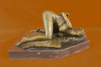 Rare Hot Cast Original Nude Girl Tied Up Bronze Sculpture Exotic Naked Statue